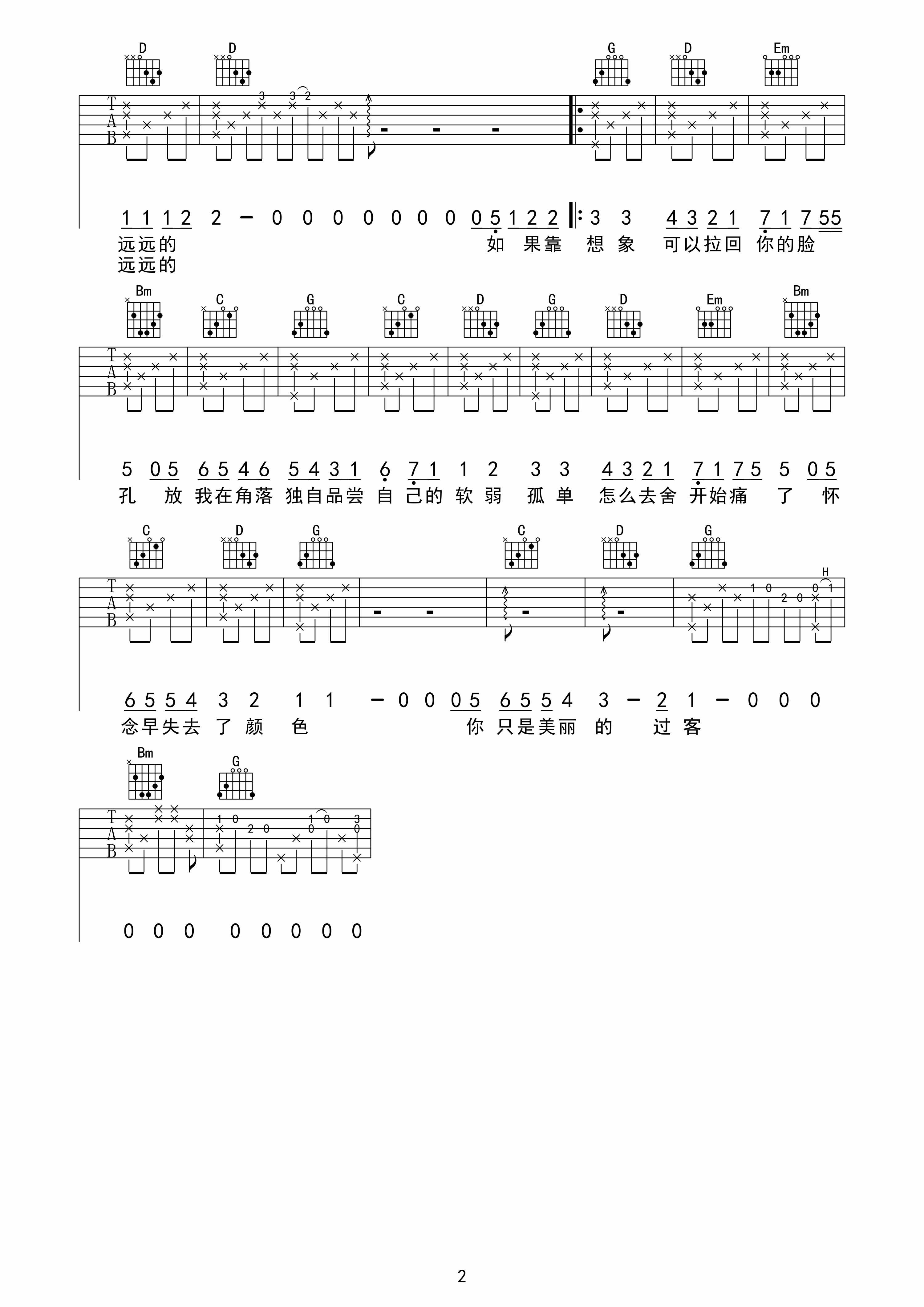 魏晨 过客|吉他谱